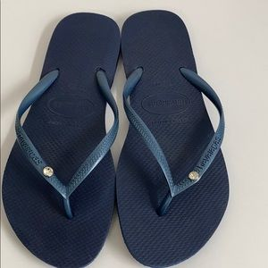 New Havaianas Blue Thong Sandals Sz 39-40